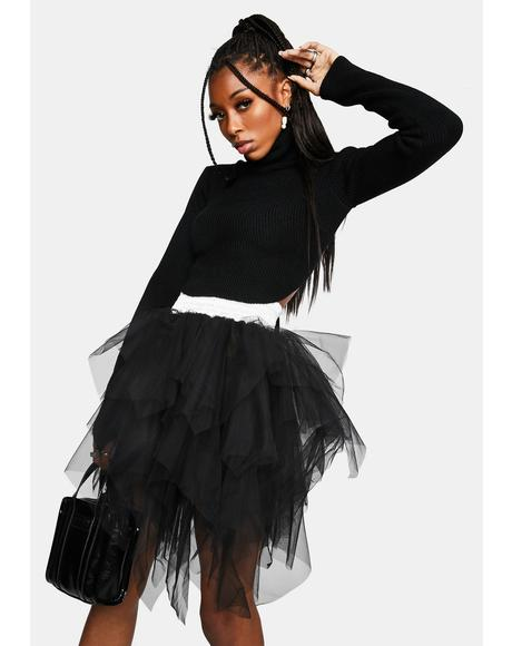 Twin Flames Shredded Tulle Mini Skirt