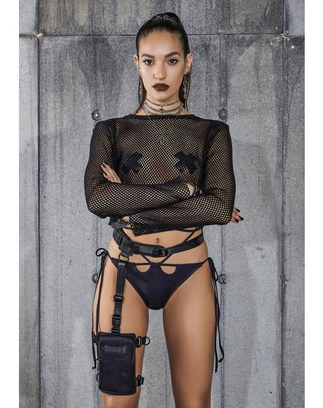 Snare Chunky Fishnet Long Sleeve Crop Top