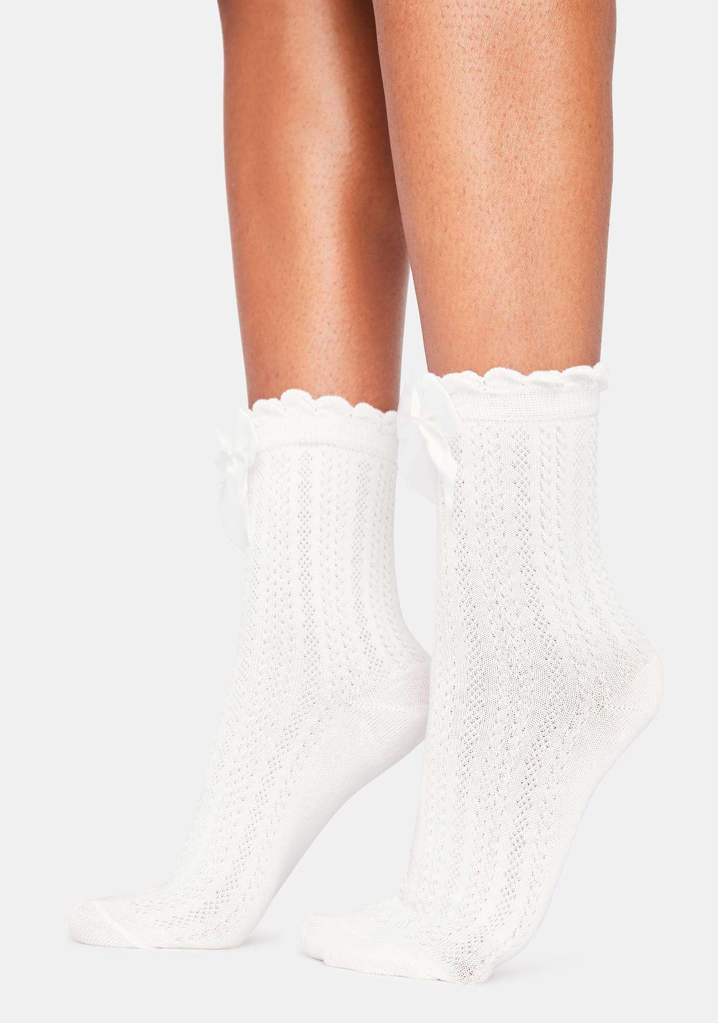 Cream Puff Bow Socks