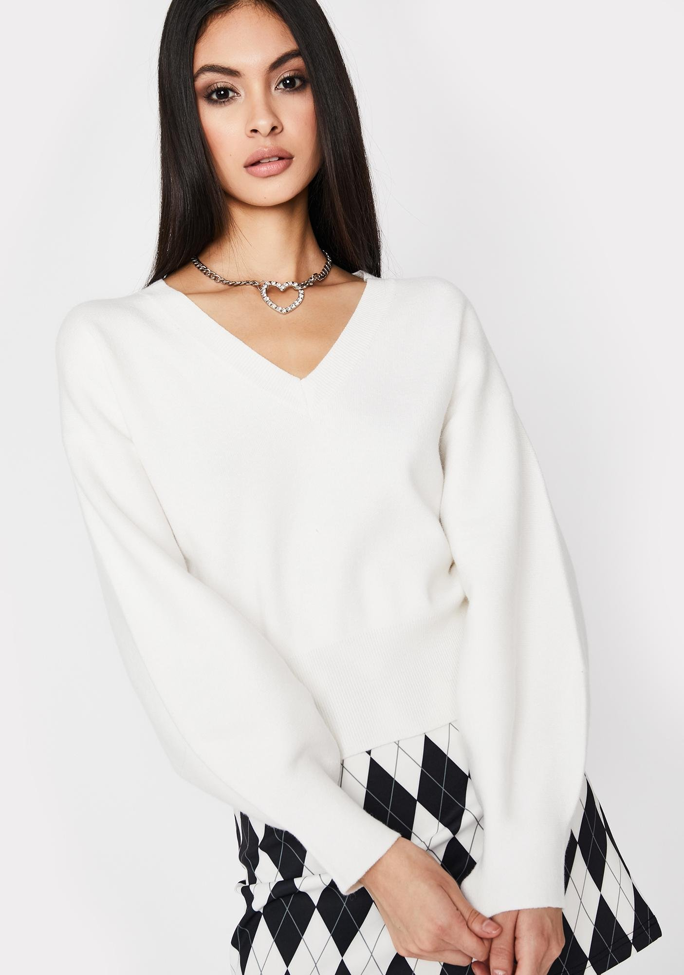 Ivory Everyday Babe V Neck Sweater