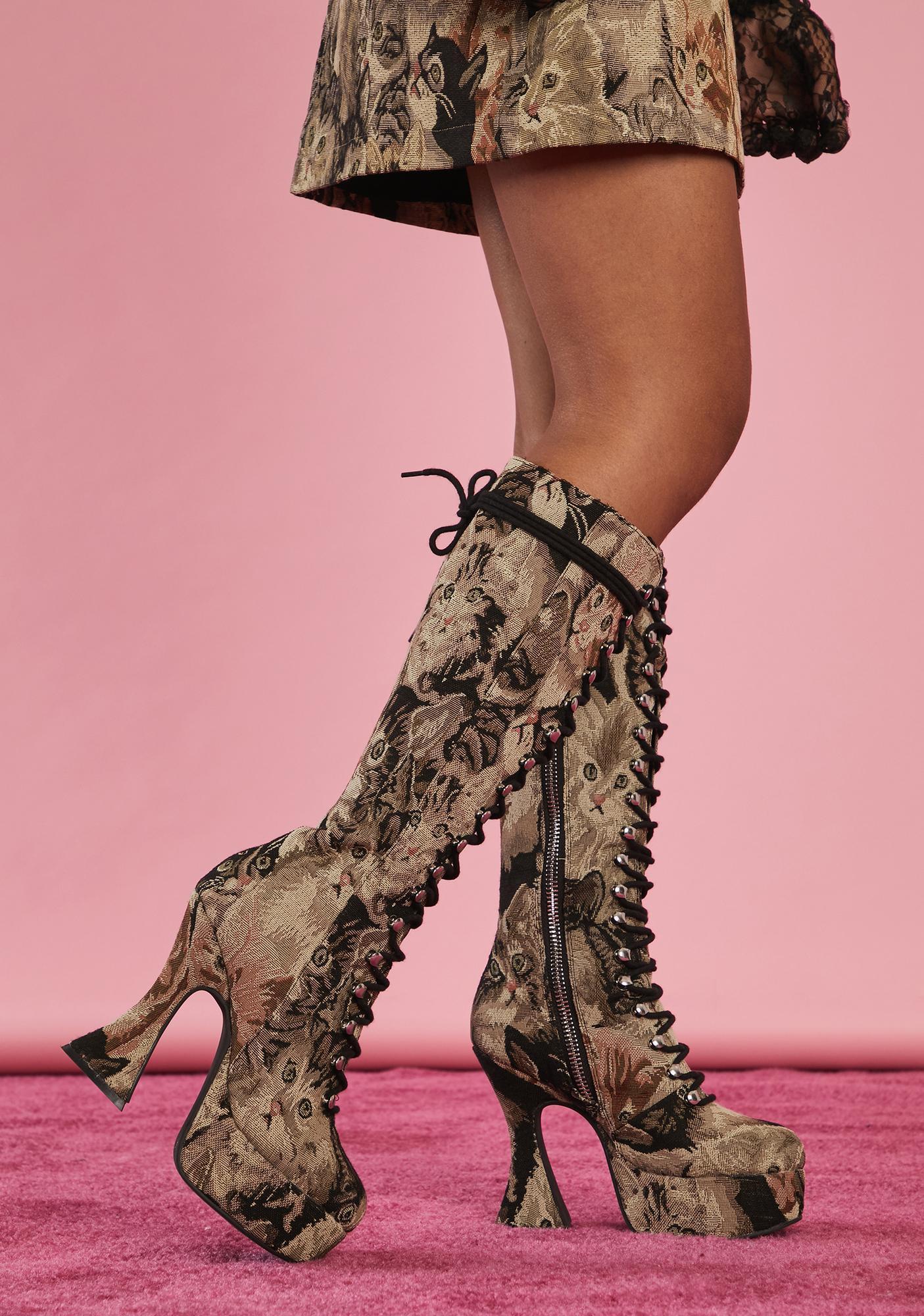Sugar Thrillz Pawsitive Thinking Knee High Boots