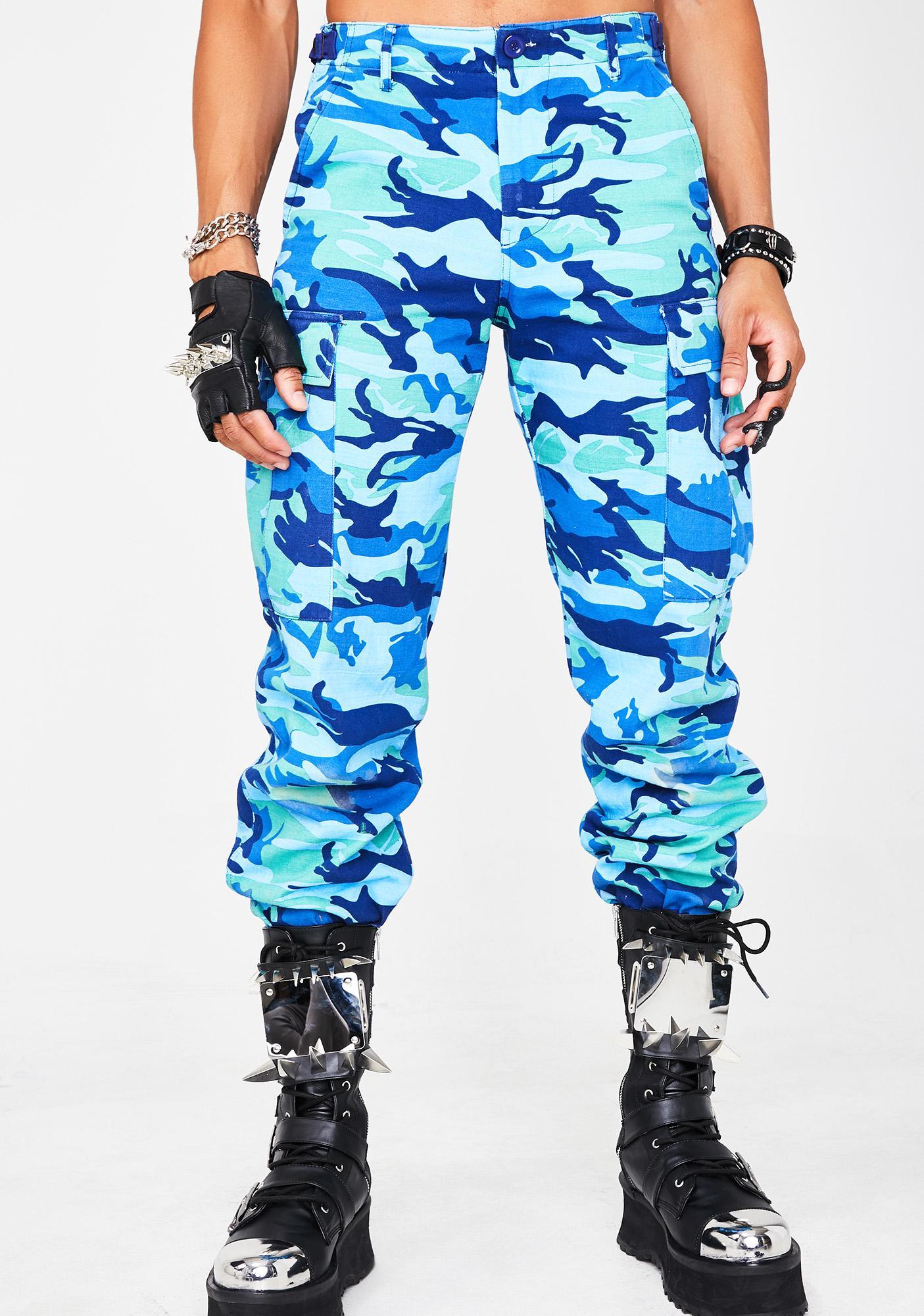High Rise Blue Camo Cargo Pants Unisex  6b638fc4d44