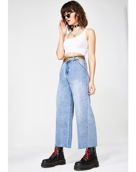 Wide Leg Denim Jeans With Belt