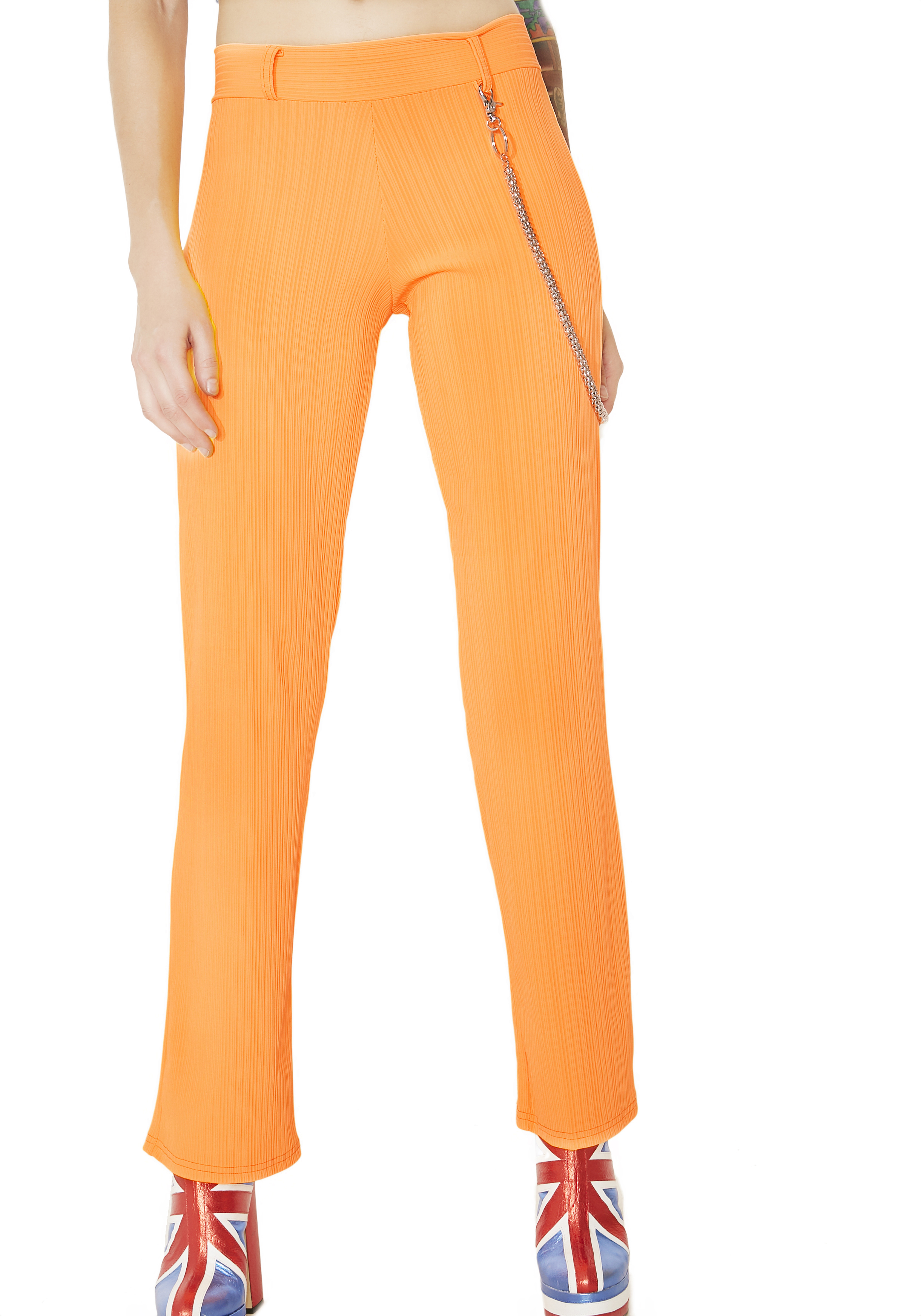 Neon Orange Ribbed Pants