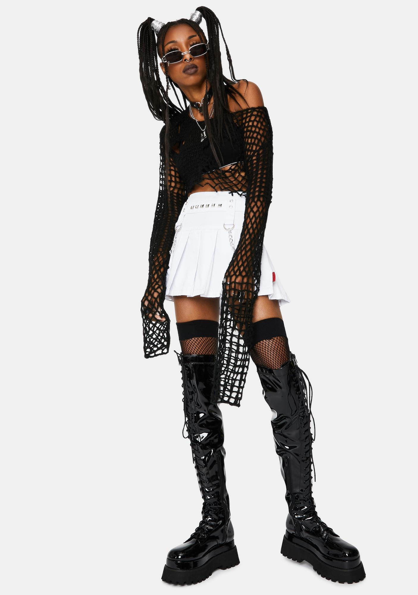 Tripp NYC White Stud And Chain Mini Skirt