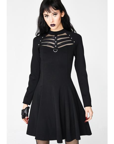 Daily High Elastic Knitted Punk Dress
