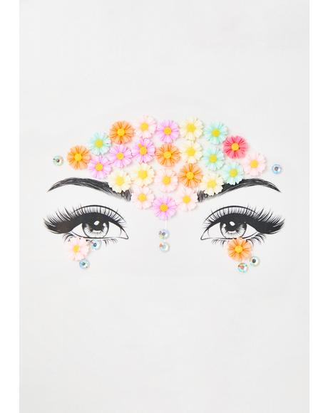 Flower Galaxy Face Gems