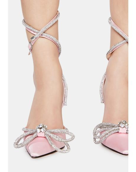 Pink Midnight Wrap Around Diamante Bow Heels