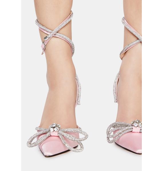 Public Desire Pink Midnight Wrap Around Diamante Bow Heels