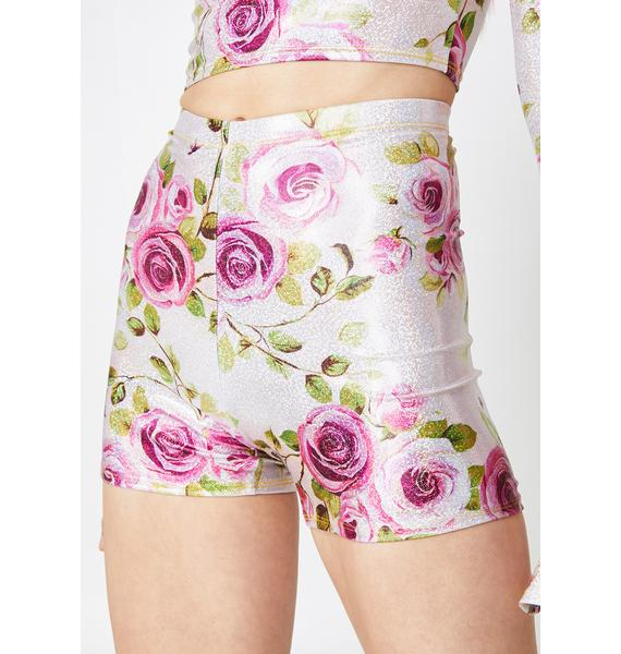 Rheabfunky Holographic Rose Hotpants