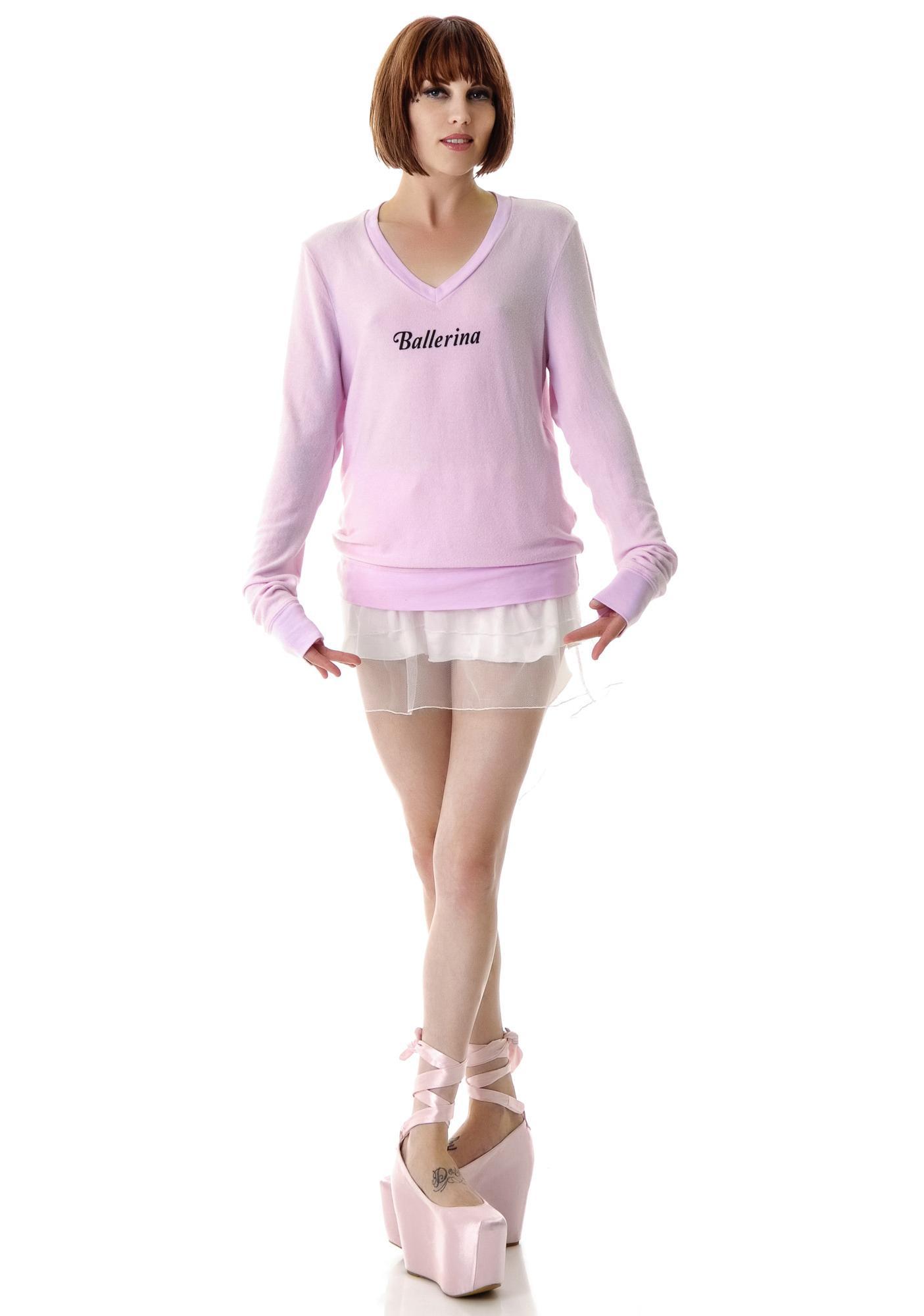 Wildfox Couture Ballerina Daisy V-Neck Baggy Beach Jumper