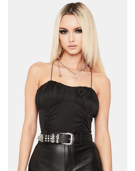 So Effortless Strappy Ruched Crop Top