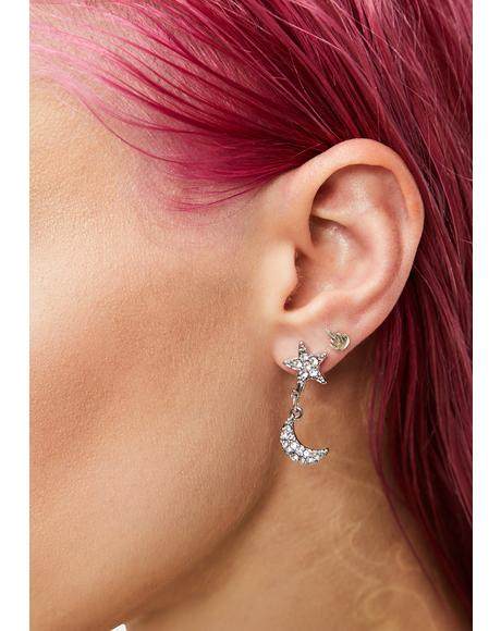 Under The Stars Rhinestone Drop Earring Set