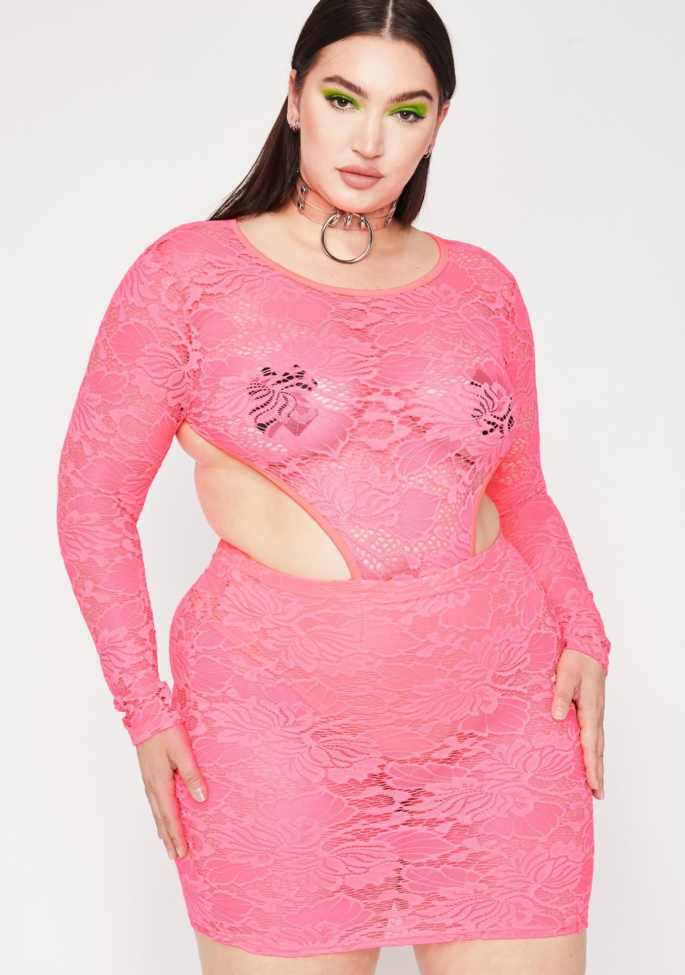 660f2b47589 Plus Size Neon Pink Lace Cut-Out Bodycon Dress