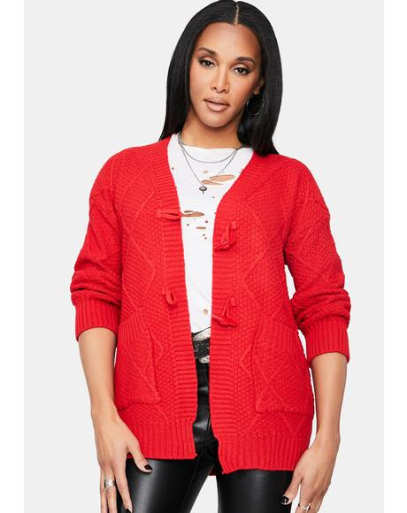 Cherry Next Level Gains Knit Cardigan