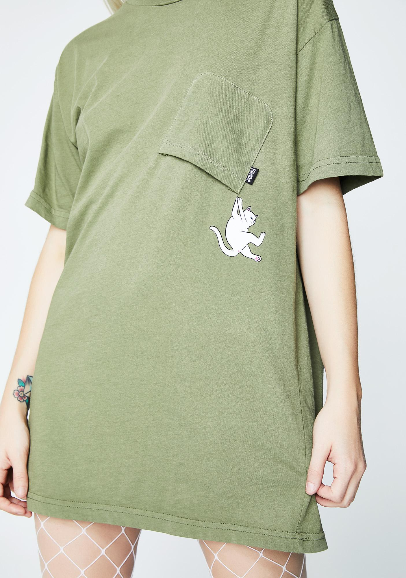 RIPNDIP Olive Hang In There Pocket Tee