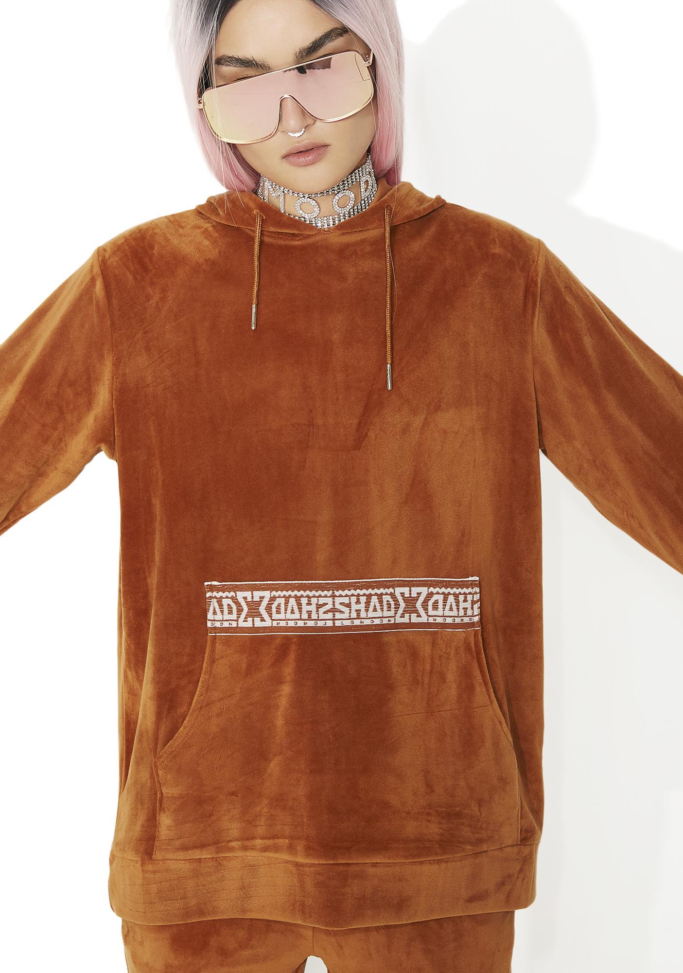 Shade London Rust Velour Hooded Sweat