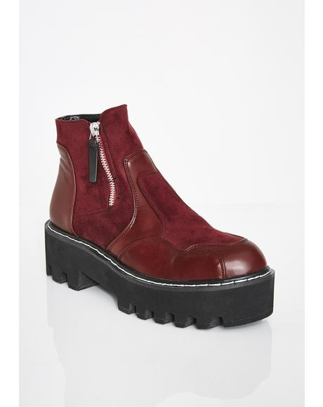 Wine Design Chunky Ankle Boots