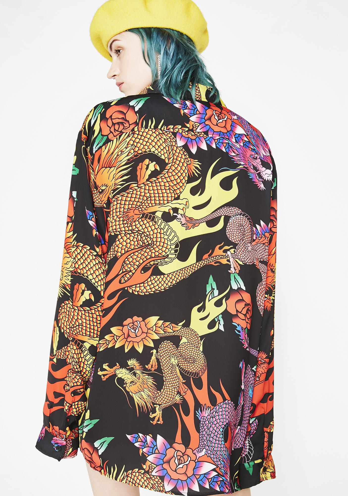 Jaded London Dragon Print Oversized Shirt