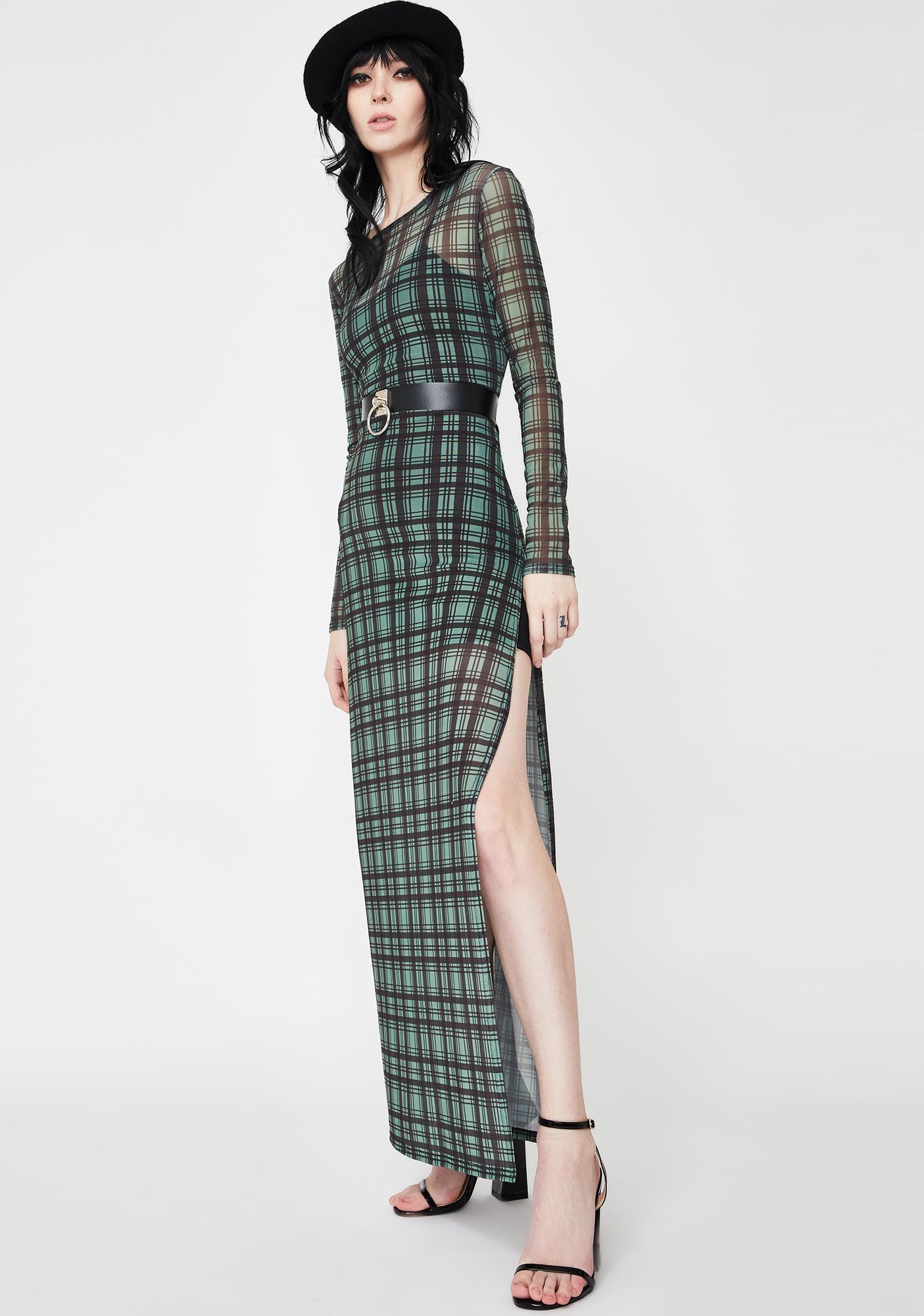 Daisy Street Check Print Mesh Dress