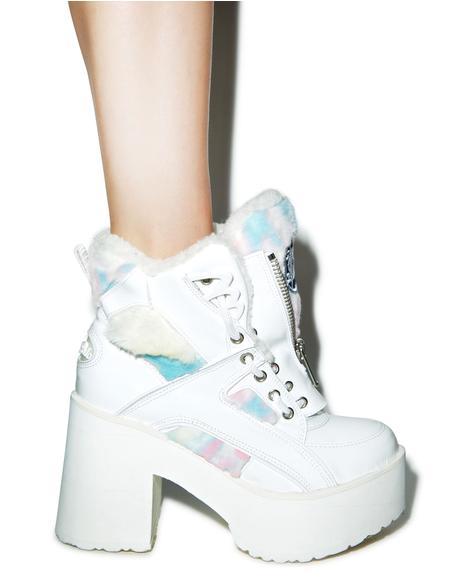 X Buffalo Platform Pastel Fur Boots