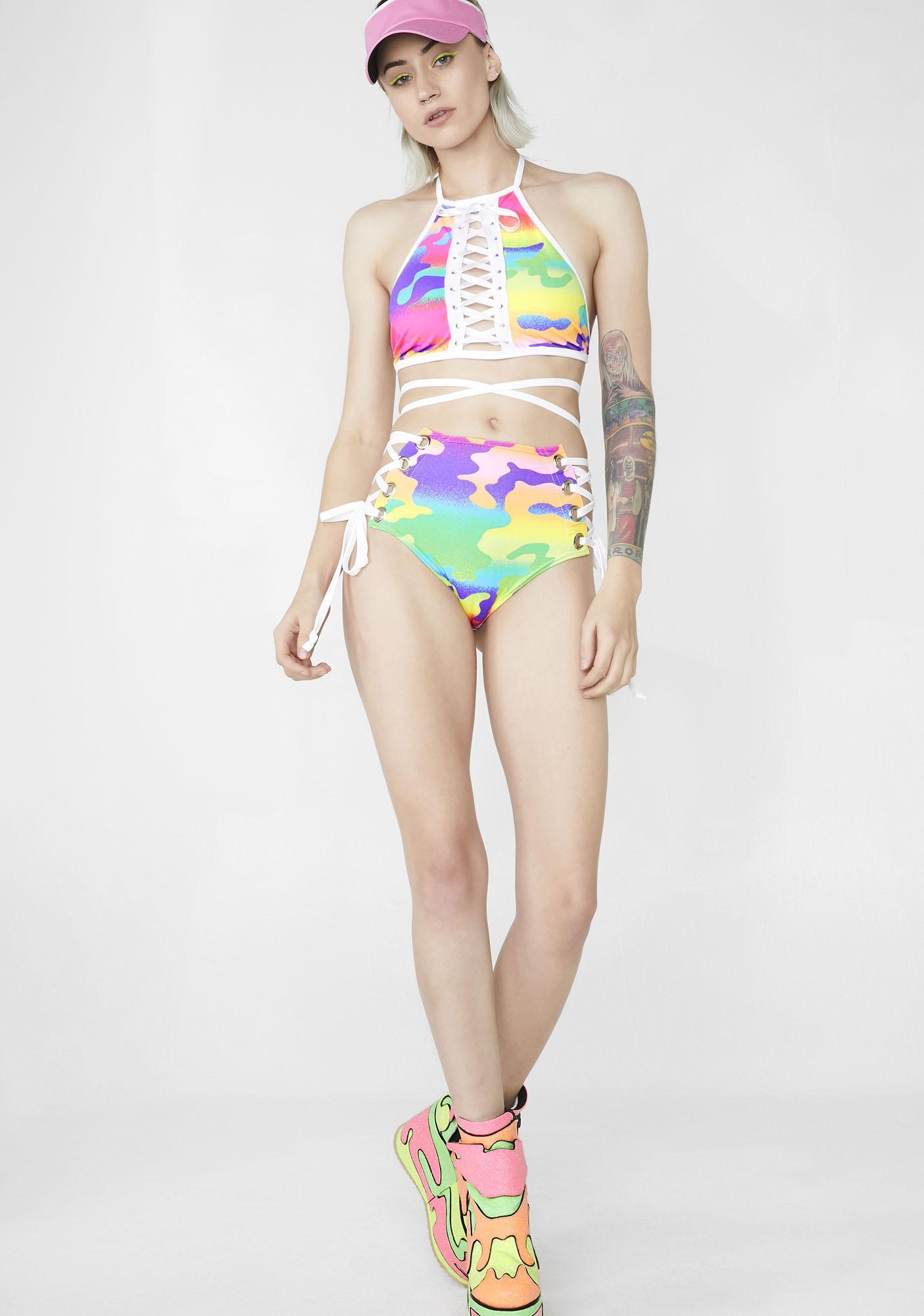 Rolita Rave Couture Camo Lace Me Up Shorts