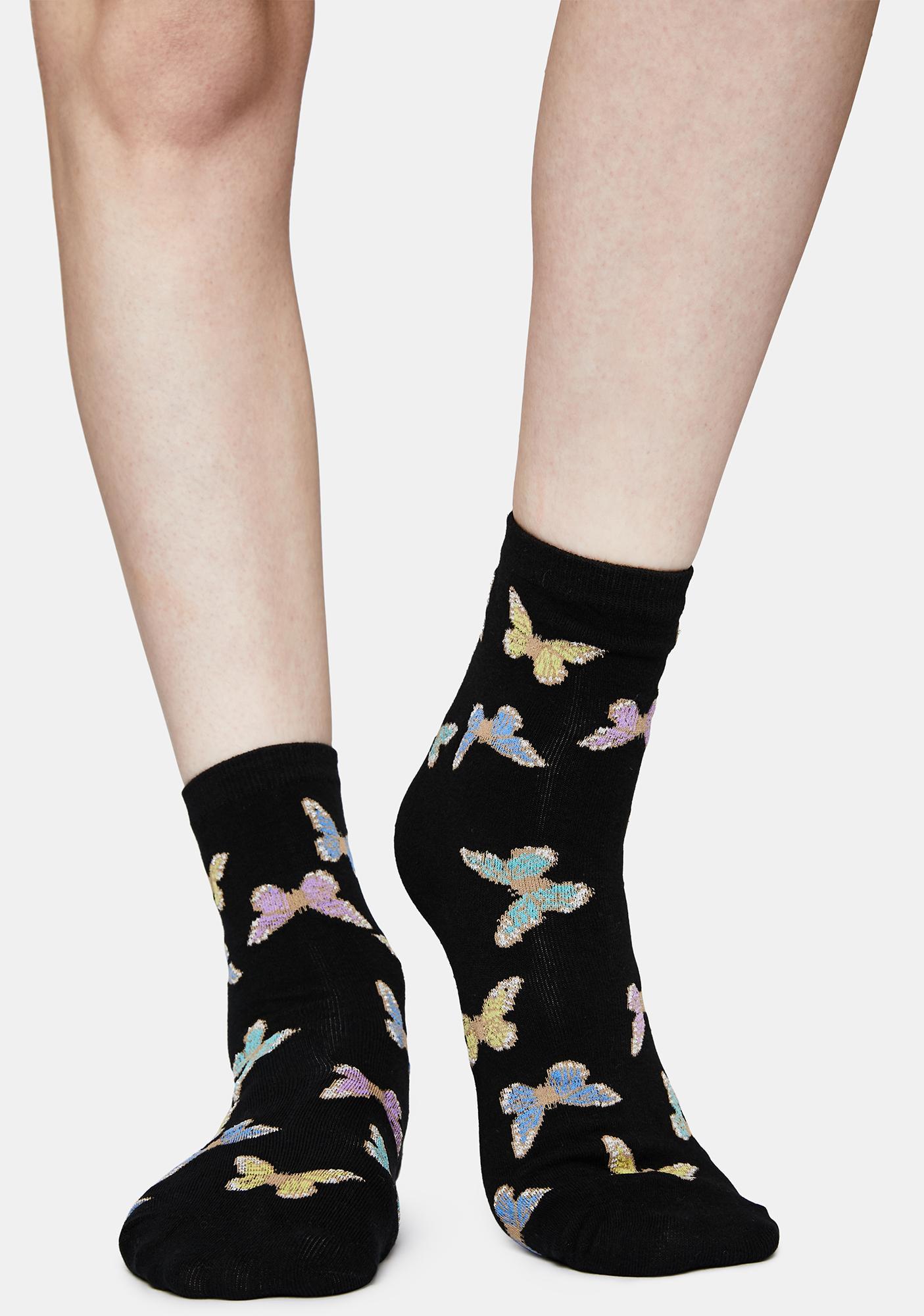 Butterfly Stop Crew Socks