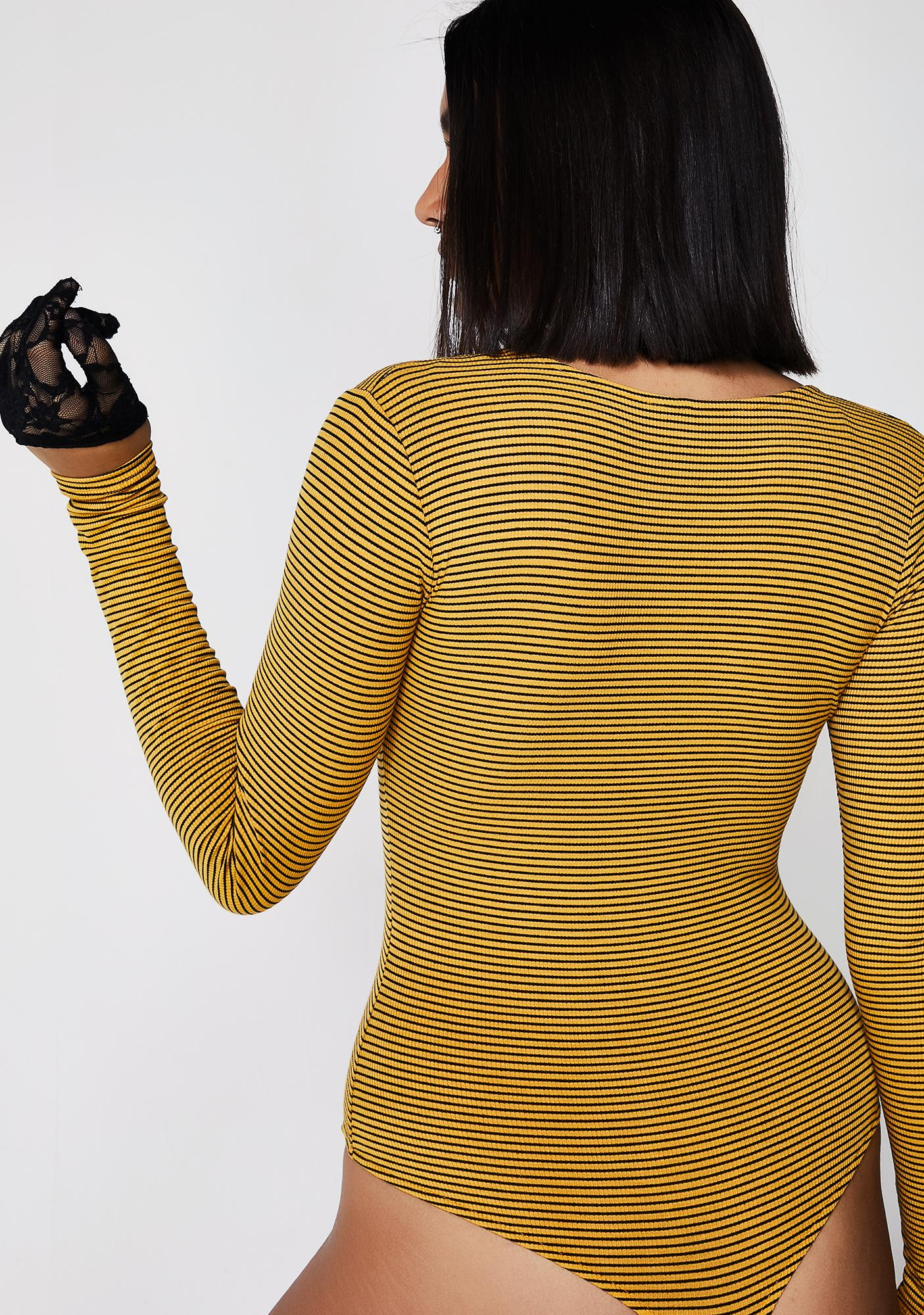 Golden Off Line Striped Bodysuit