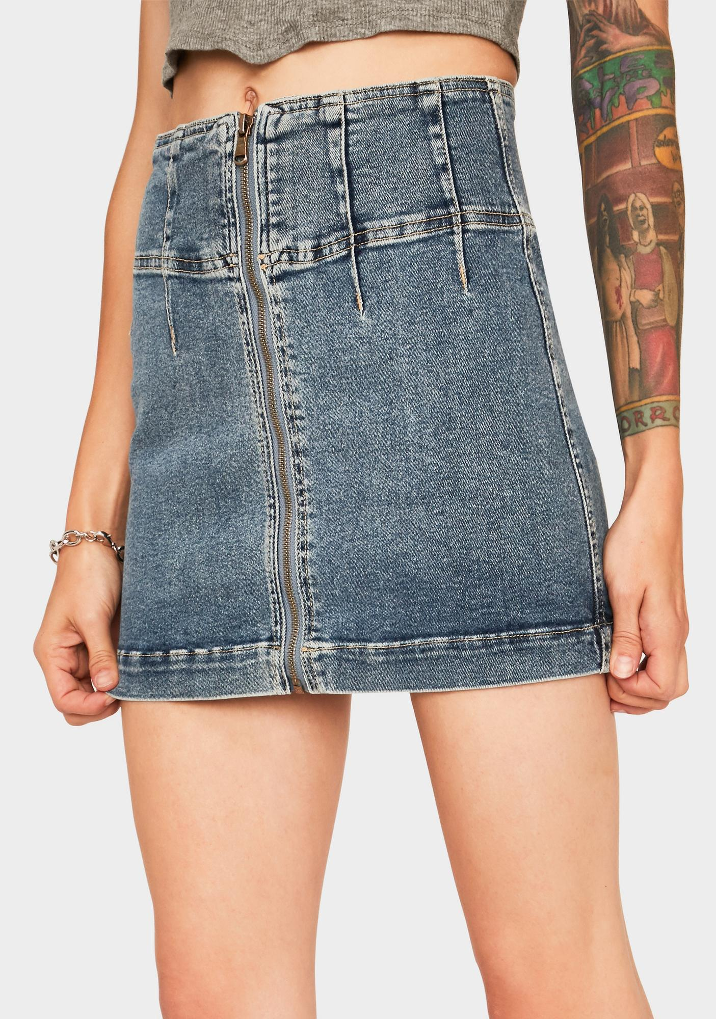Free People Virgo Denim Mini Skirt