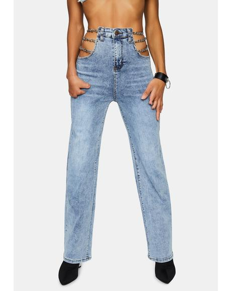 Pay Attention Chain Cut-Out Jeans