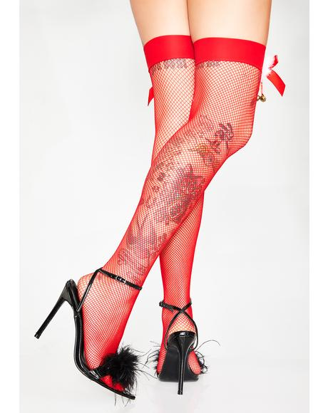 Santa Bby Fishnet Thigh Highs