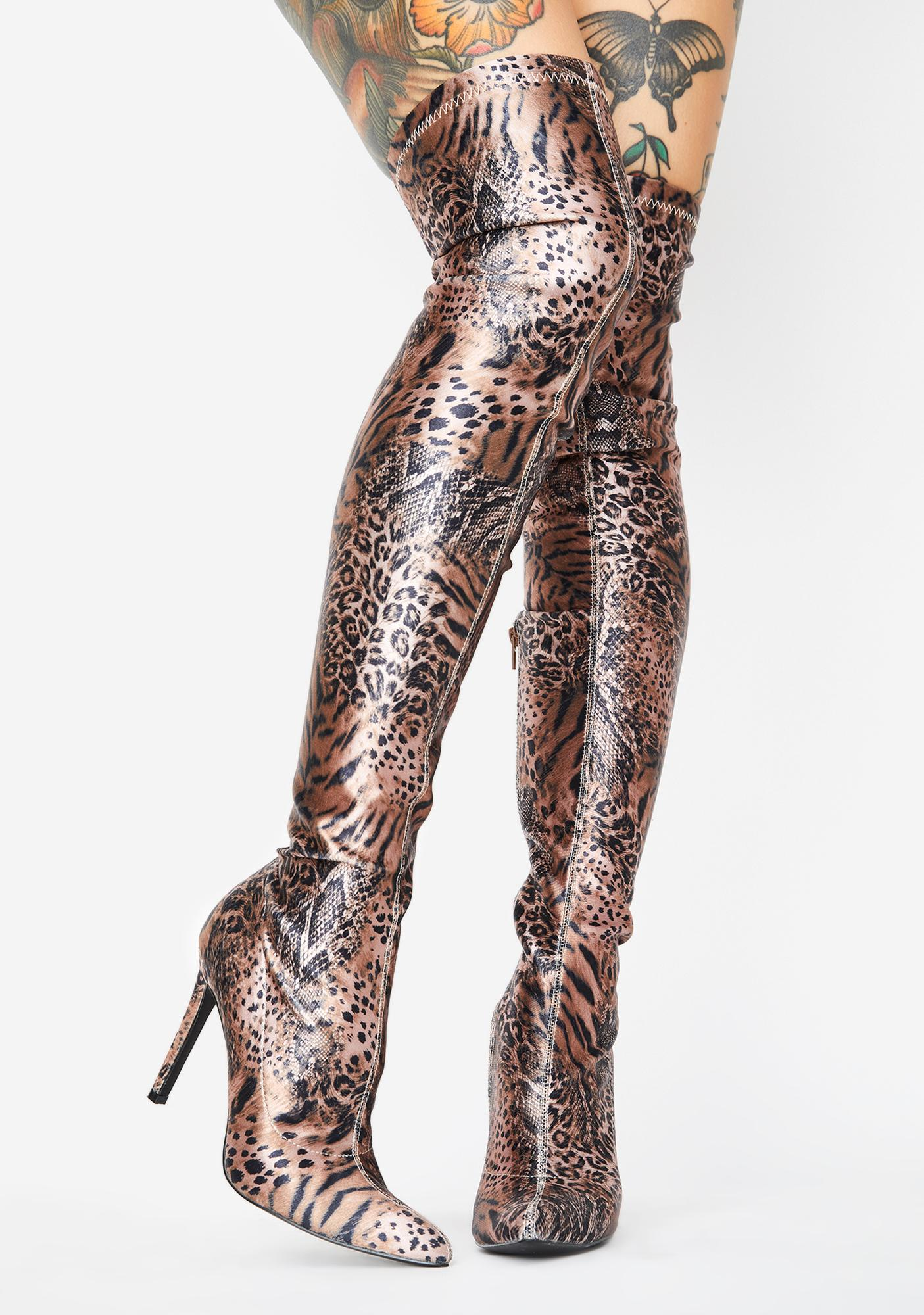 Sugar Thrillz Fiercely Unphased Thigh High Boots
