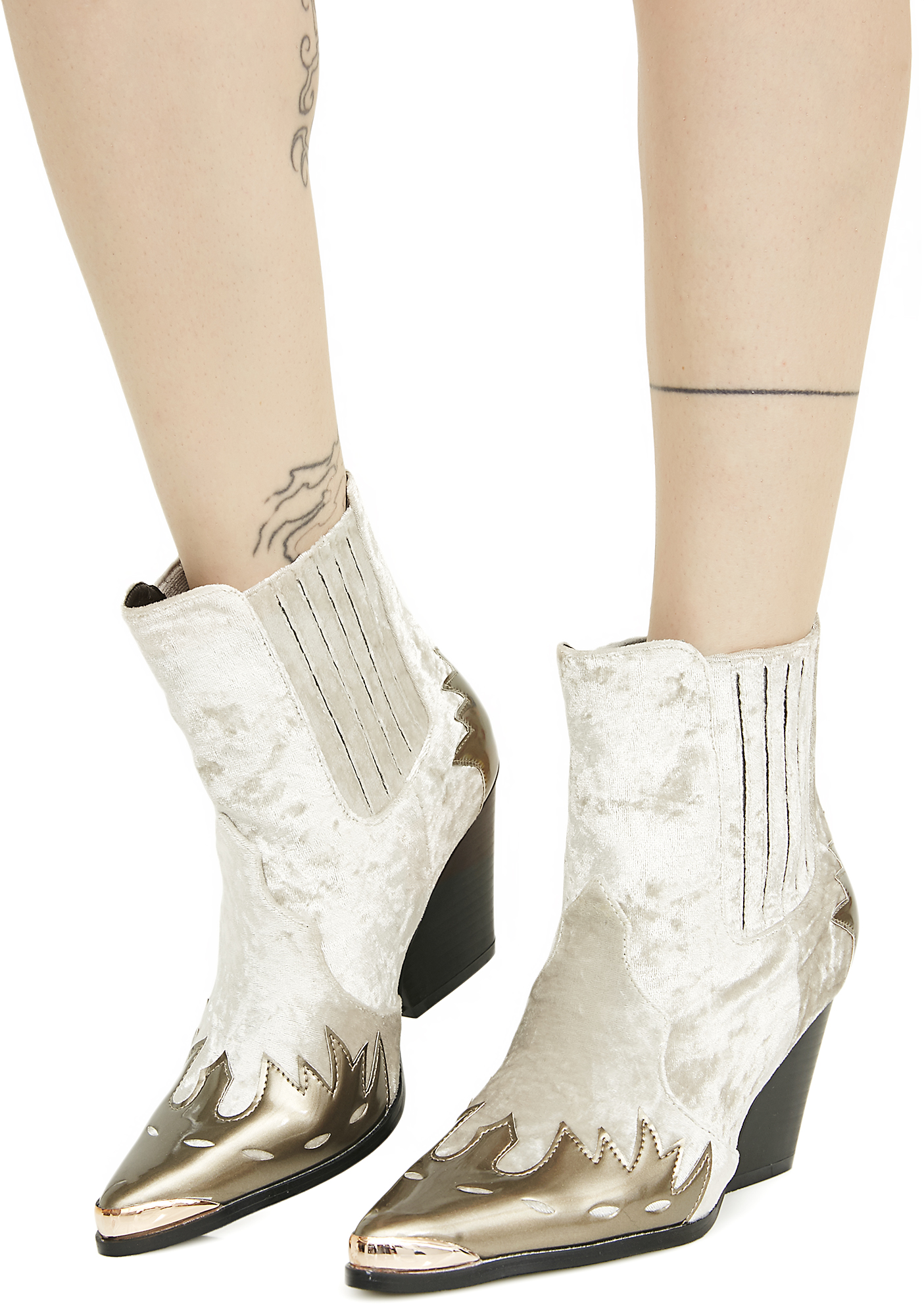 Champagne Velvet Metal Toe Western Ankle Boots