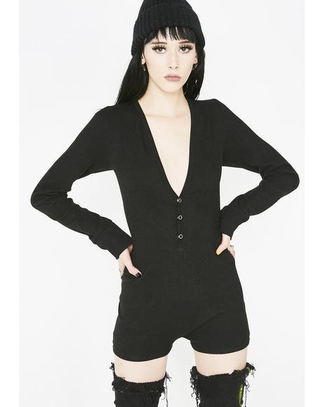 Dark Cheeky Behavior Ribbed Romper