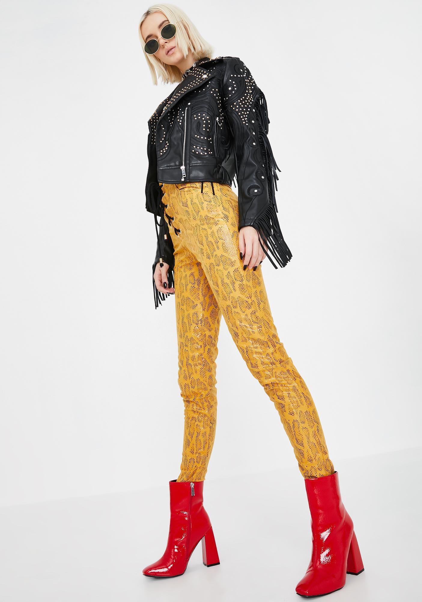 Jagger & Stone Olsen Lace-Up Snakeskin Pants