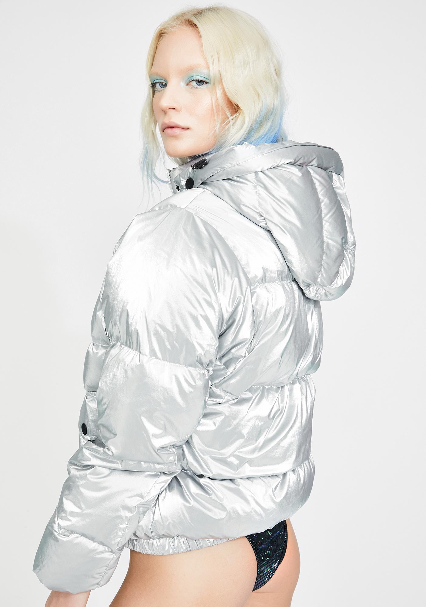 Blanc Noir Mont Blanc Metallic Puffer Jacket
