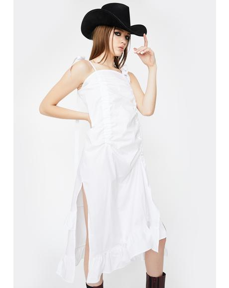 White Ribbon Ruched Dress