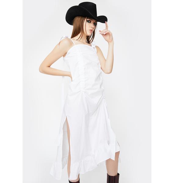 Alzang White Ribbon Ruched Dress