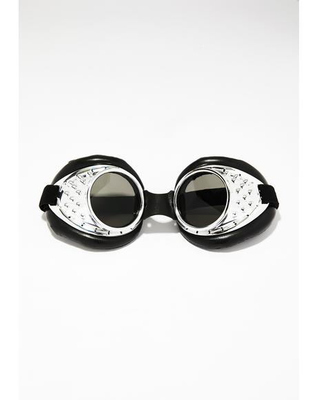 Chrome Radioactive Aviator Goggles