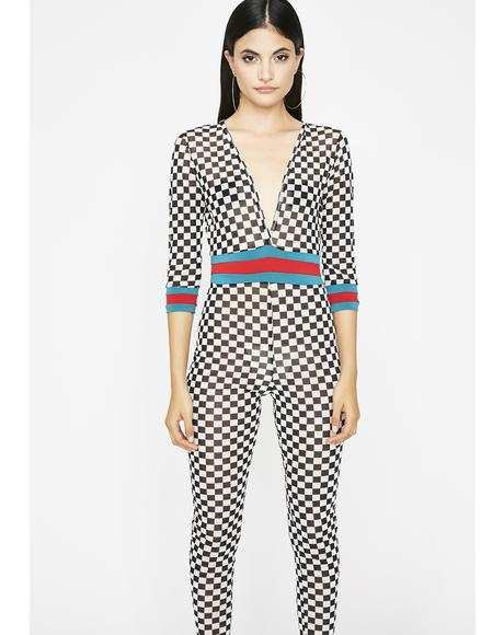 Mz Fast Lane Checkered Catsuit