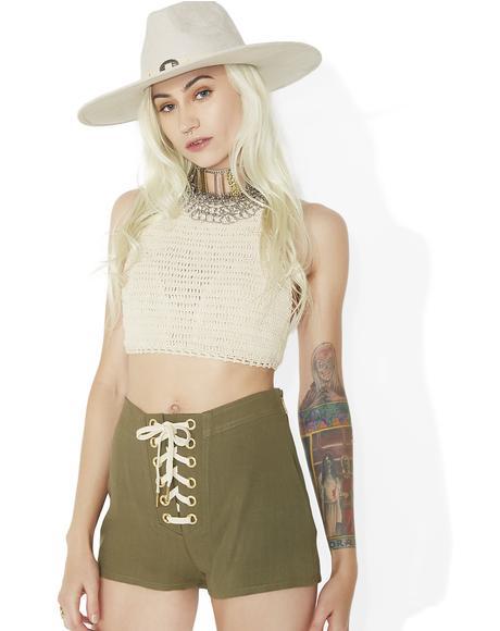Danger Ranger Lace-Up Shorts