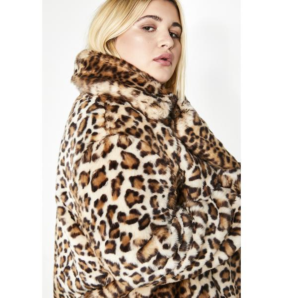 Current Mood Gonna Hunt You Down Leopard Coat