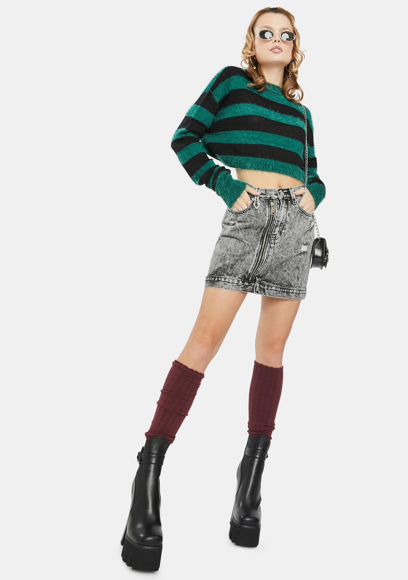 Neon Blonde Tease Zip Denim Skirt