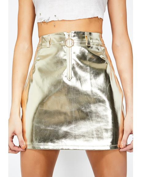 Golden Rocket Science Mini Skirt