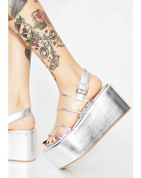 Chrome Step Aside Platform Sandals