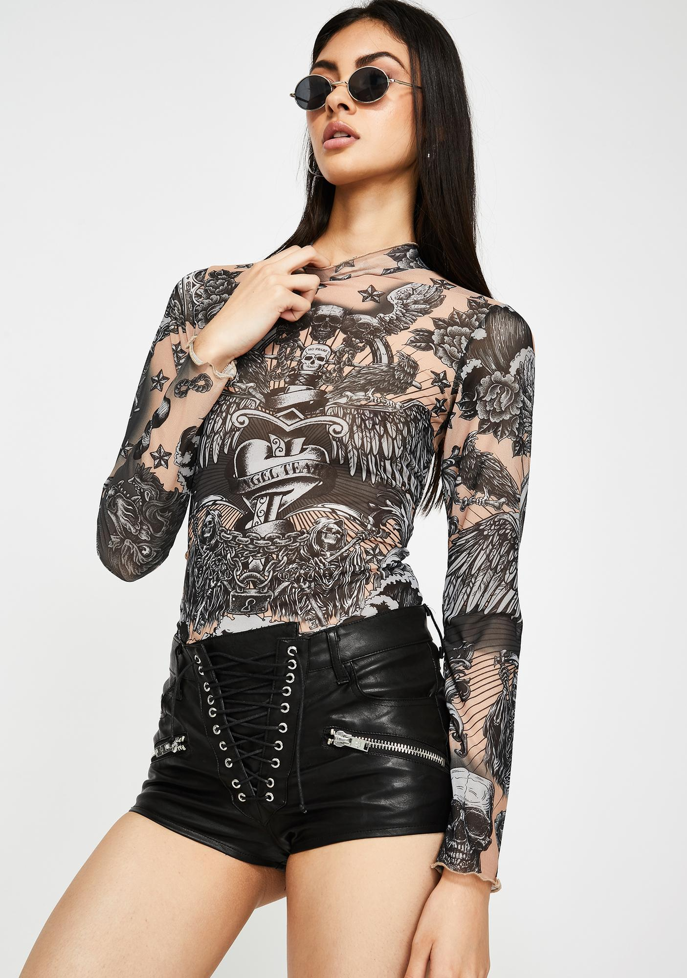 Jaded London Tattoo Print Mesh Top