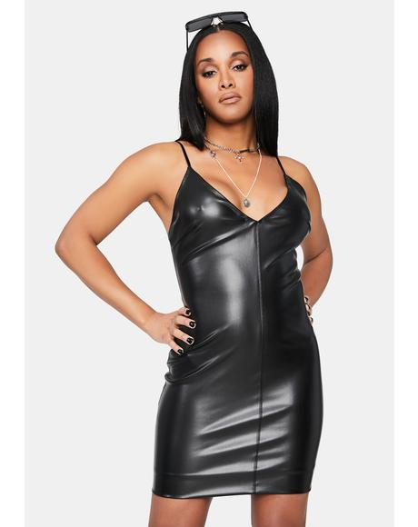 Open Your Eyes Faux Leather Mini Dress