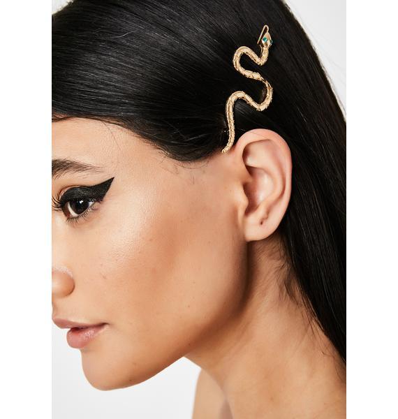 Golden Sassy Serpent Hair Clip