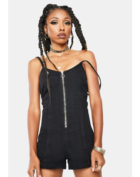 Black Zip Up Romper