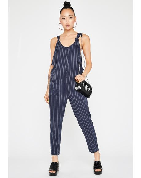 All Play No Work Stripe Overalls